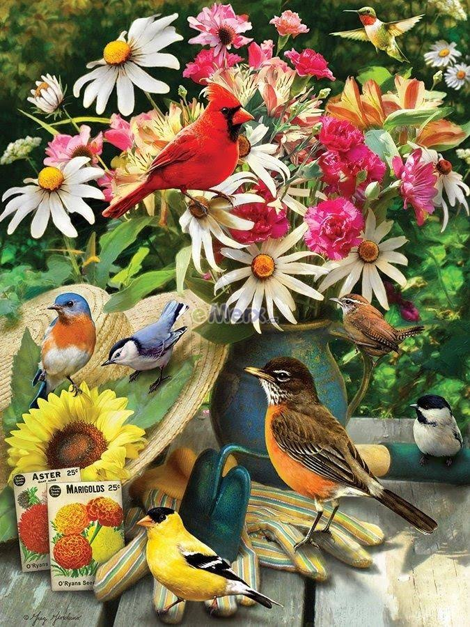 Cobblehill 85035 500 PC Garden Birds Puzzle, Various