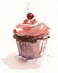 Untitled Via Tumblr Illustration Painting Art Dessert Drawing Cupcake Cake Watercolor Instafollow F4F L4L