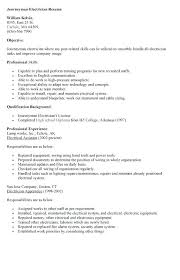 Sample Resume For Electrician Examples Apprentice