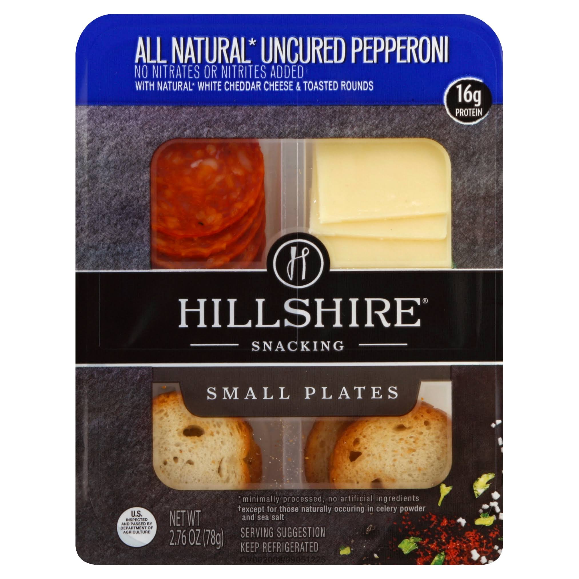 Hillshire Snacking All Natural Uncured Pepperoni with Natural White Cheddar Cheese Snack Plate - 2.76oz