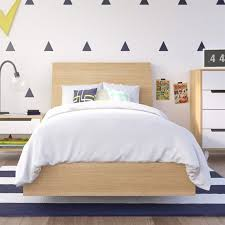 Twin Platform Bed with Headboard in Maple KIT