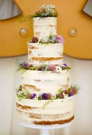 Large Semi Naked Cake Topped With Bold Summer Wildflowers