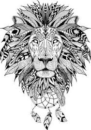 Detailed Lion In Aztec Style With Dream Catchers Perfect For T Shirts Mugs And Cases