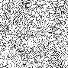 Coloring Book For Adults Seamless Black And White Background Floral Ethnic Hand