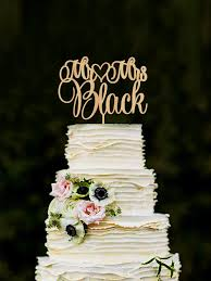 Mr Mrs Wedding Cake Topper Custom Last Name Personalized Wood Rustic Gold