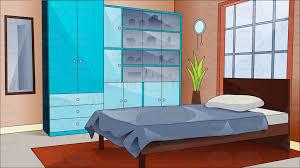 a pretty and comfortable bedroom cartoon clipart vector toons