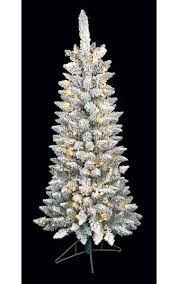 Snow Flocked Slim Christmas Tree by Prelit Flocked Artificial Christmas Trees
