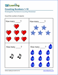 Free Preschool Kindergarten Numbers Counting Worksheets