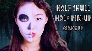 Halloween Half Mask Makeup by Half Skull Half Classic Pin Up Doll Makeup Nyx Face Awards Entry