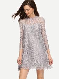 keyhole back grey lace shift dress emmacloth women fast fashion online