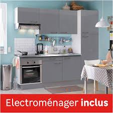 cuisine complete cuisine équipée gris brillant l 240 cm électroménager inclus