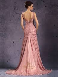peach one shoulder side drped a line chiffon prom dress with