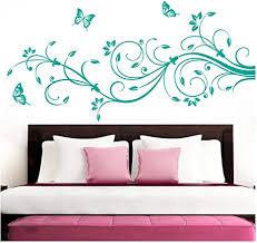 grandora wandtattoo blumenranken schmetterlinge blumen i türkis bxh 210 x 81 cm i schlafzimmer liebe flur wohnzimmer modern aufkleber