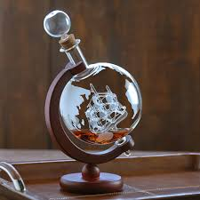 globe whiskey decanter with antique ship wine enthusiast home