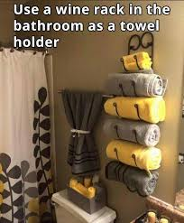 Bathroom Decor Ideas Pinterest by Awesome Idea To Use A Wine Rack As A Towel Rack In The Bathroom