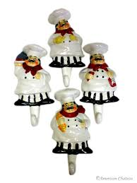 Fat Chef Kitchen Decor Cheap by 4 Fat French Chef Wall Hooks Hangers Kitchen Decor Ct4nd015