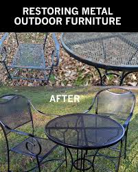 Restore Metal Outdoor Furniture To 'like New' | {Household} Tips ... Crosley Griffith Outdoor Metal Five Piece Set 40 Patio Ding How To Paint Fniture Best Pick Reports Details About Bench Chair Garden Deck Backyard Park Porch Seat Corentin Vtg White Mid Century Wrought Iron Ice Cream Table Two French White Metal Patio Chairs W 4 Chairs 306 Mainstays Jefferson Rocking With Red Choosing Tips For At Lowescom