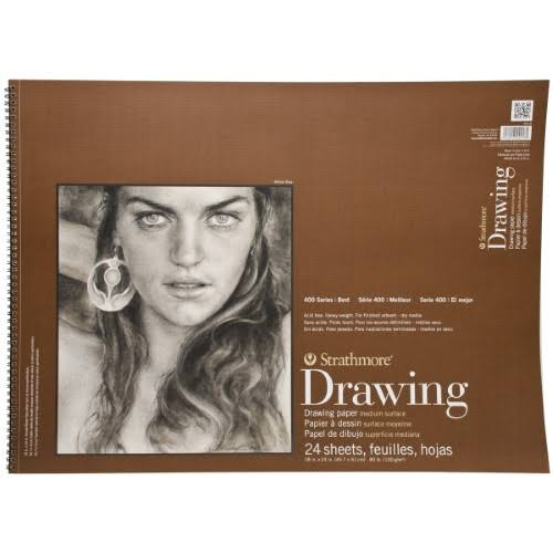 "Strathmore Drawing Spiral Paper Pad - Medium, 18"" X 24"", 24 Sheets"