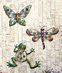 Set Of 3 Outdoor Wall Decor Dragonfly Butterfly Frog Bejeweled Colorful Patio