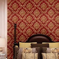 blooming wall rote damast tapete beflockt geprägt strukturiert für wohnzimmer schlafzimmer 50 cm 57 m pro rolle gold rot