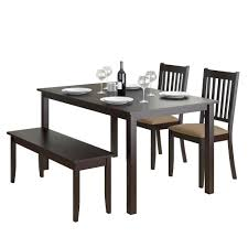 Atwood 4 Piece Dining Set With Cappuccino Stained Bench And Of Chairs