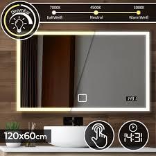 aquamarin badspiegel mit led beleuchtung 120 x 60 cm eek a touchschalter dimmbar 3in1 kaltweiß neutral warmweiß einstellbar digitaluhr