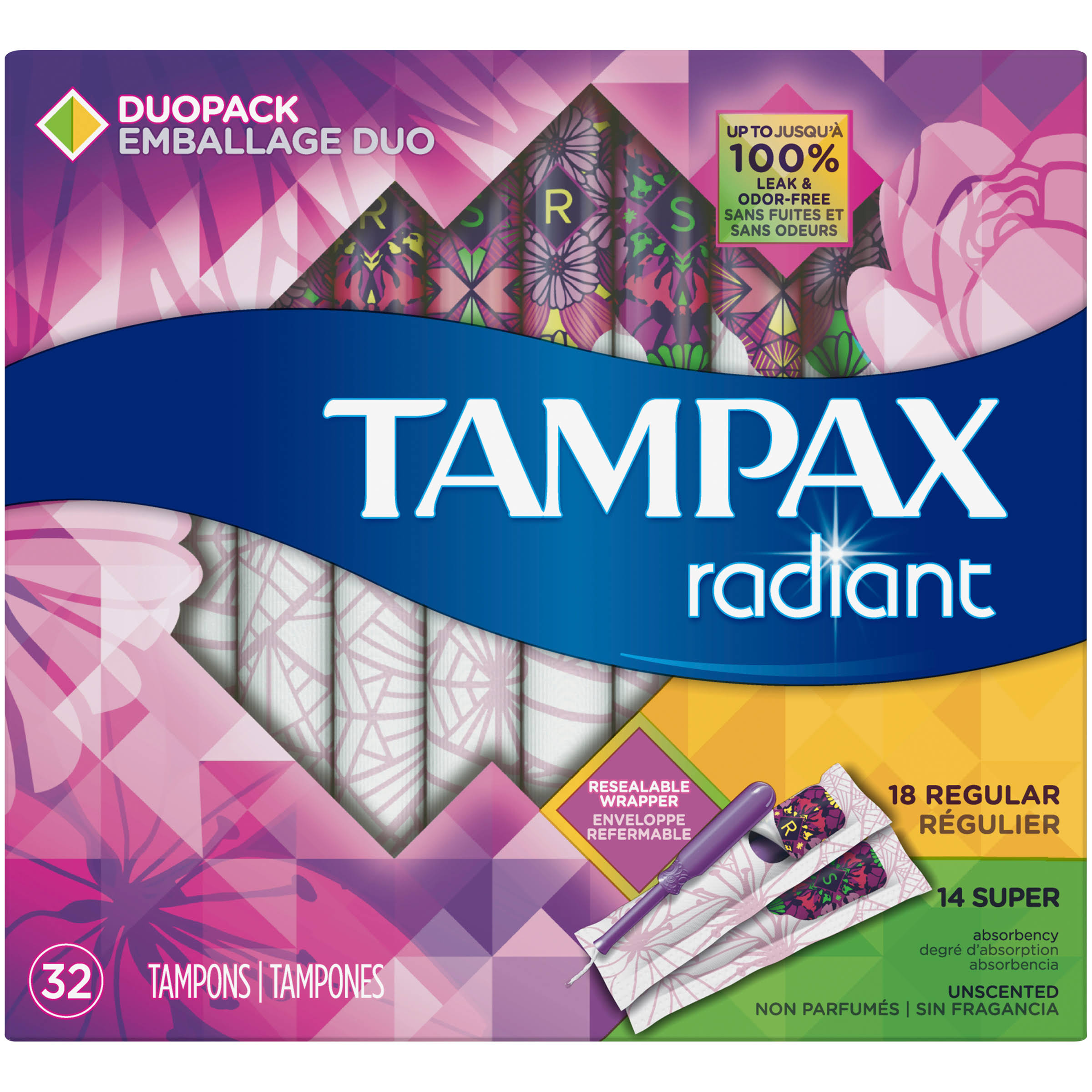 Tampax Radiant Unscented Plastic Tampons Duo Pack - 32 Pack