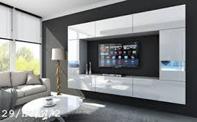 future 29 wohnwand anbauwand wand schrank tv schrank wohnzimmerschrank wohnzimmer hochglanz weiß schwarz led rgb beleuchtung 29 hg w 2 led weiß