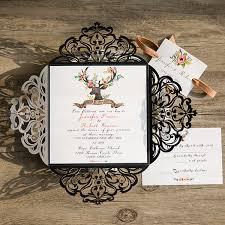 Black Laser Cut Deer Rustic Wedding Invitation With Suede Ribbon EWWS094 3