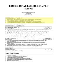 Laborer Professional Profile How To Write Resume Summary