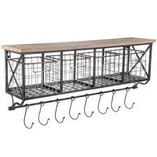 Shelf With Metal Baskets Hooks