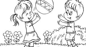 Kids Playing Outside Clipart Black And White
