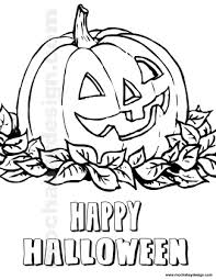 View And Print Jolly Pumpkin Nestled In Leaves Halloween Kids Coloring Page