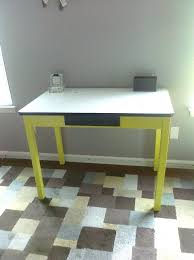 Enamel Kitchen Table Antique W White Metal Top Refinished And Painted Chartreuse I Added Vintage Auction