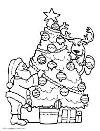 Christmas Tree Coloring Books by Santa With His Reindeer Decorate Christmas Tree