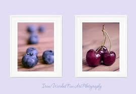 Food Photography Set Kitchen Wall Art Fruit Blueberry Decor Cherry Print