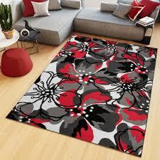 teppich kurzflor modern floral design schwarz grau rot weiß