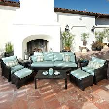 Patio Furniture Conversation Sets With Fire Pit by Patio Ideas Rst Brands Deco Bliss Blue 8 Piece Wicker Patio