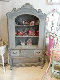 antique shabby chic china cabinet blue distressed eclectic