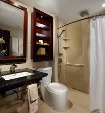 minimalist bathroom designs small leather padded stool beside