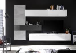 wohnzimmerwand in weiß grau 6 teilig veldig