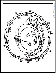Halloween Coloring Page Fun Pumpkin Jack OLantern Fall Wreath And Harvest Corn For