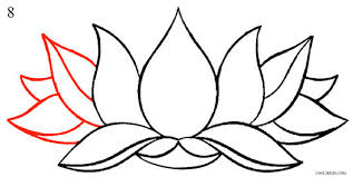 How to Draw Lotus Flower Step 8