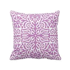 OUTDOOR Folk Floral Throw Pillow Or Cover Purple White 16 18 20 Sq Pillows Covers Bright Mexican Boho Bohemian Tribal Art