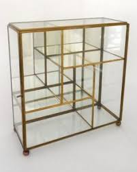 VNTG Brass Glass Mirror Table Top Wall CURIO Small Display Cabinet Case Shelf