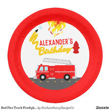 100 Fire Truck Plates Red Fighter Birthday Party Paper Plate In 2018