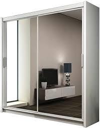 kleiderschrank mit spiegel paries modernes schwebetürenschrank schiebetür schlafzimmerschrank schlafzimmer 160 cm weiß spiegel