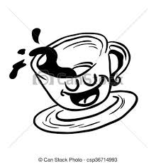 Black And White Happy Coffee Cup Spill