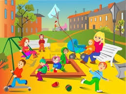 Clipart children playing in the playground