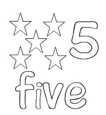Learn Number 5 With Five Stars Coloring Page